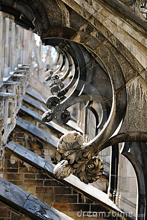 Flying Buttresses Milan Cathedral Italy Royalty Free