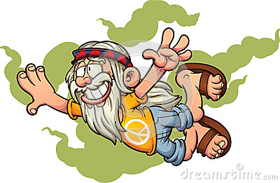 Flying cartoon hippie. Vector Illustration