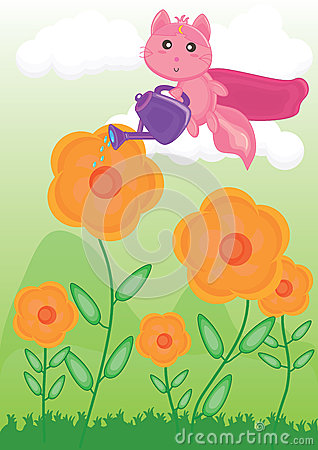 Flying Cat Watering Flower_eps