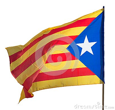 Flying Catalonia  flag. Isolated over white