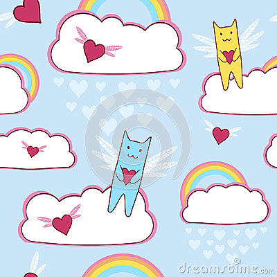Flying cats with loving hearts and rainbow