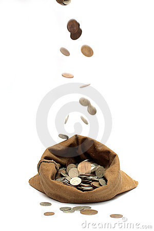 Free Flying Coins, Falling In Bag Royalty Free Stock Image - 3911796