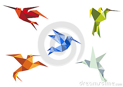 Flying color origami hummingbirds