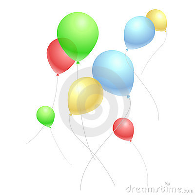 Flying colored balloons on blank