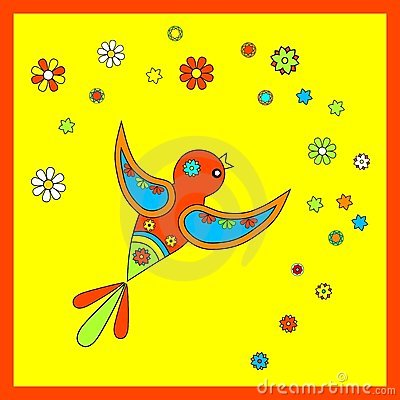 Flying colorful bird with flowers
