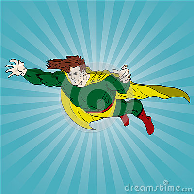 Flying comic book hero