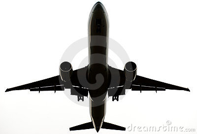 Flying commercial airplane isolated on white