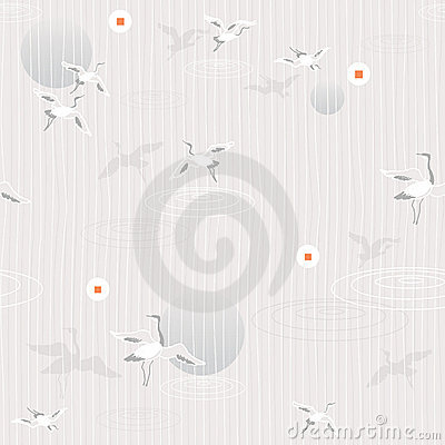 Free Flying Cranes- Seamless Pattern Stock Photo - 5819280
