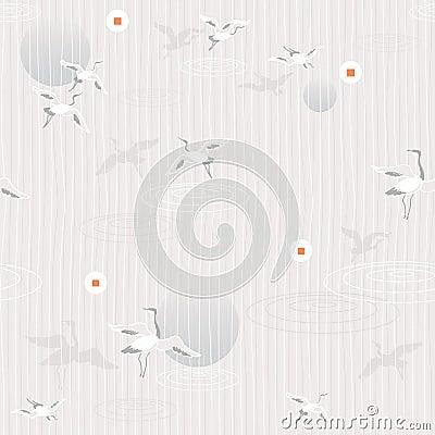 Flying cranes- seamless pattern