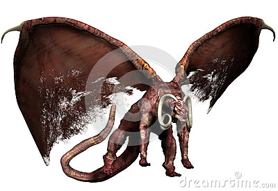 Flying demon with curved horns