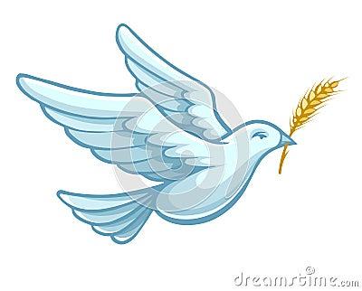 Flying dove bird with wheat ear vector