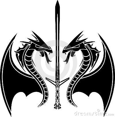 Flying dragons and sword