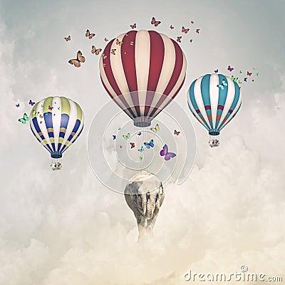 Free Flying Elephant Stock Photo - 42153630