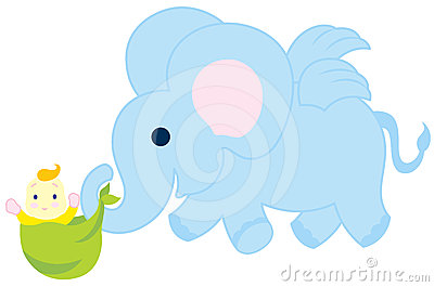 Flying Elephant With Baby