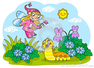 Flying fairy and cartoon caterpillar