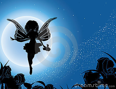 Flying fairy silhouette with flowers in night sky