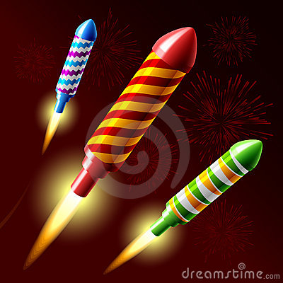 Flying fireworks rocket