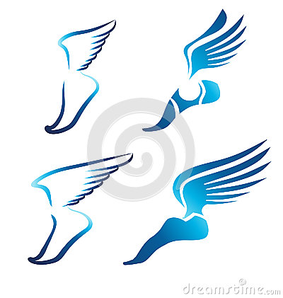 Winged Foot Logo Vector - More information