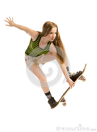 Flying girl-skateboarder