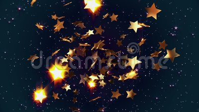 Flying golden stars. In backgrounds