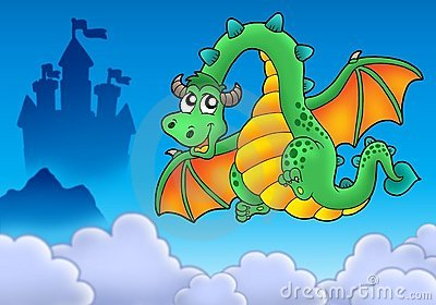 Flying green dragon with castle