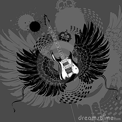 Free Flying Guitar Royalty Free Stock Images - 10380779