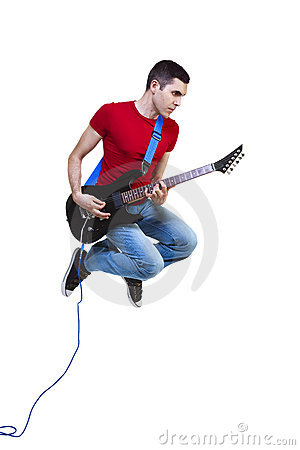 Flying guitarist
