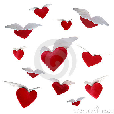 Free Flying Hearts Royalty Free Stock Photography - 411317
