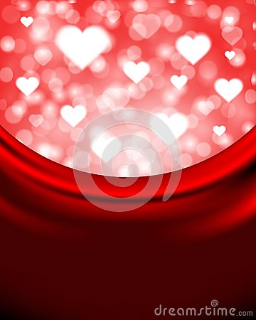 Flying hearts on silk