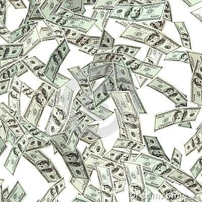 Flying hundred dollars banknotes