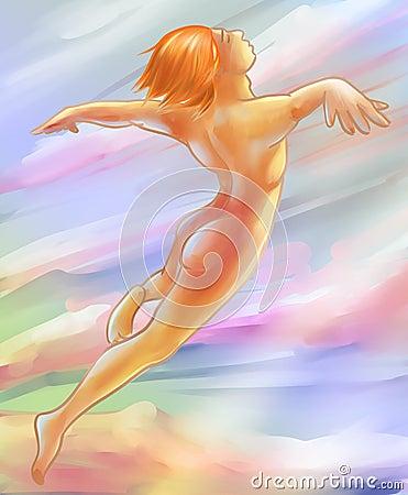 Free Flying In A Dream - Digital Art Sketch Stock Image - 52378041