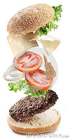 Free Flying Ingredients Of Hamburger Stock Photo - 18679250