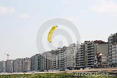 Flying a kite along the coast