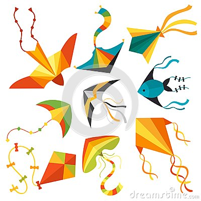 Free Flying Kite Snake Serpent Dragon Kids Toy Colorful Outdoor Summer Activity Vector Illustration Royalty Free Stock Photos - 112866858