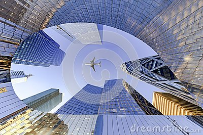 Flying on La Defense Business district Stock Photo
