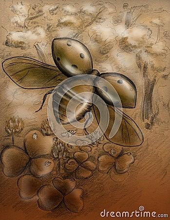 Flying ladybug