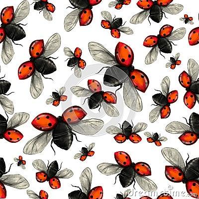 Flying ladybug seamless pattern