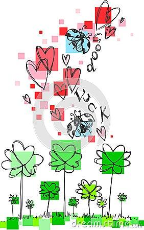 Good Luck doodle sketch vector