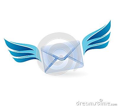 Flying letter - vector concept