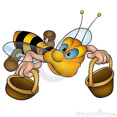 Flying little wasp with baskets