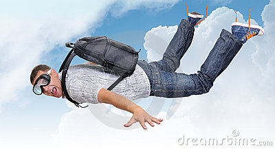 Flying man with satchel (parachute) in clouds