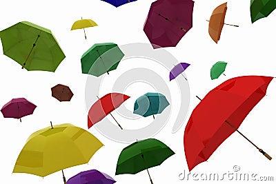Flying of multicoloured umbrellas