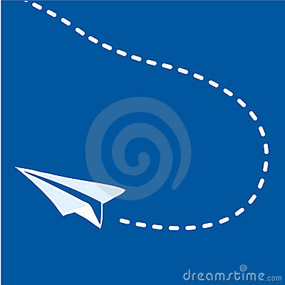 Free Flying Paper Airplane On Blue Stock Photography - 7726382