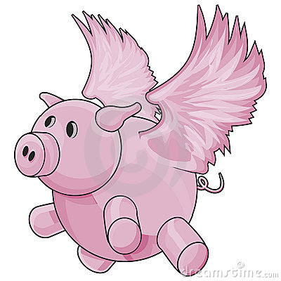 Flying Pig with Clipping Path