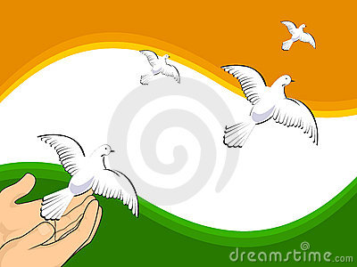 Flying pigeons on Indian flag colors background.