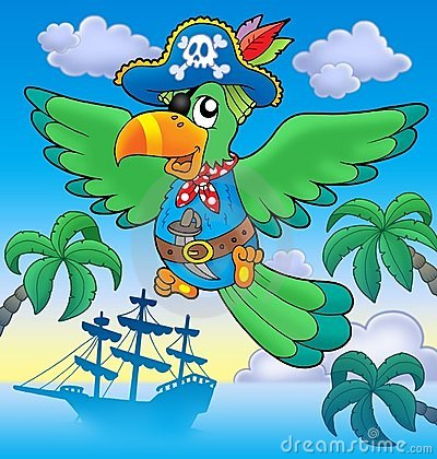 Flying pirate parrot with boat