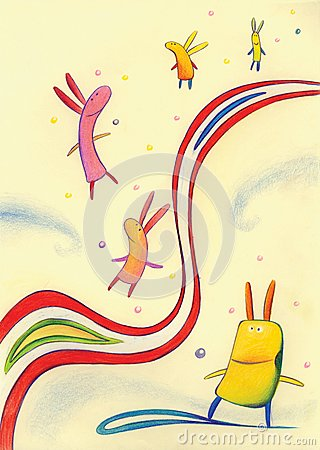 Flying rabbits in the space