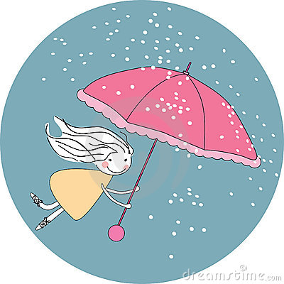 Flying in the rain Vector Illustration
