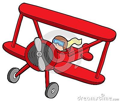 Flying red biplane