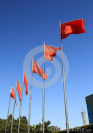 Free Flying Red Flags Flag Royalty Free Stock Photo - 48068785
